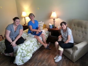 My niece Cheryl, her mom, Dixie, and my mother in her new room.