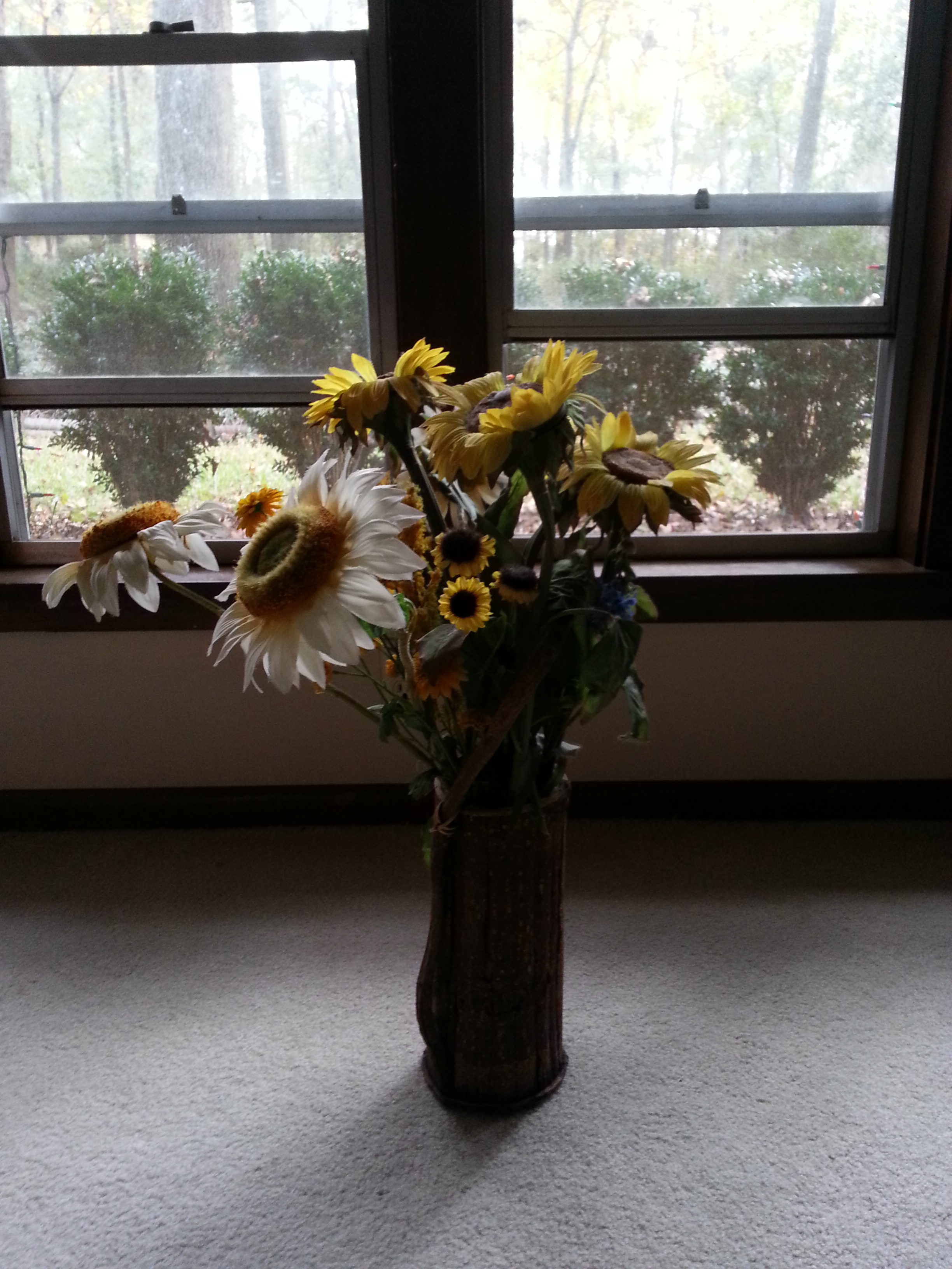 My 22-year-old son happily proclaimed this flower arrangement an adequate substitute for a Christmas tree.