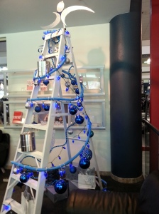 The ladder Christmas tree at the health club -- creative and festive.