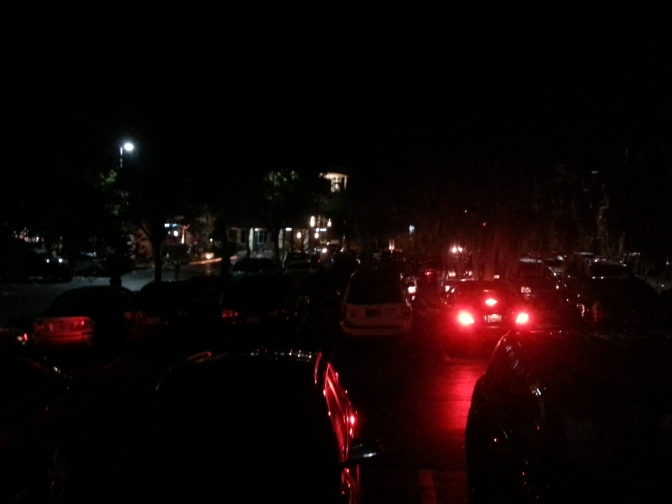 Crazy dark and overfilled parking lot. Somebody needs to sleep in.