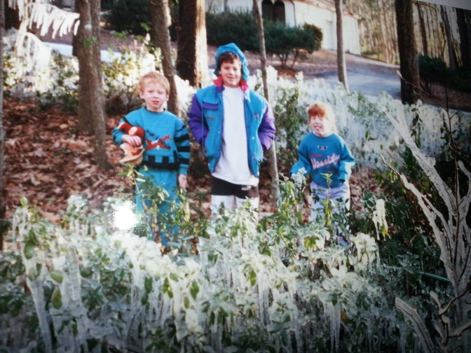 Back when my children were little, my husband would run the sprinklers during the cold weather -- to protect the plants and delight the children.