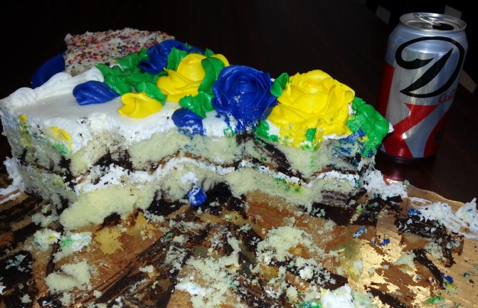 The cake that sabotaged my will power... I went back to shoot a photo of the cake later in the day and saw the Diet Coke can parked beside it. How fitting!