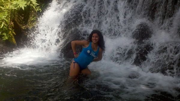 Our beautiful and talented Aqua Zumba instructor, Anita. (No, that amazing waterfall was not that location for our class, but it could be when we travel to Costa Rica to visit Anita next year.)