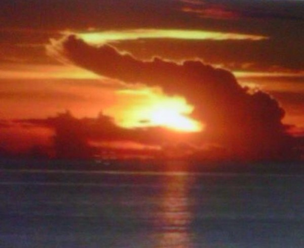 The first time I saw this photograph, it was on my sister-in-law's cell phone. She said my nephew had shot the photo, but since that time I have seen it  in various places online and am now unsure as to the photographer. However, I am clear as to the Creator of the sunset -- and the alligator, in the clouds and in the Florida waters mentioned in this post.