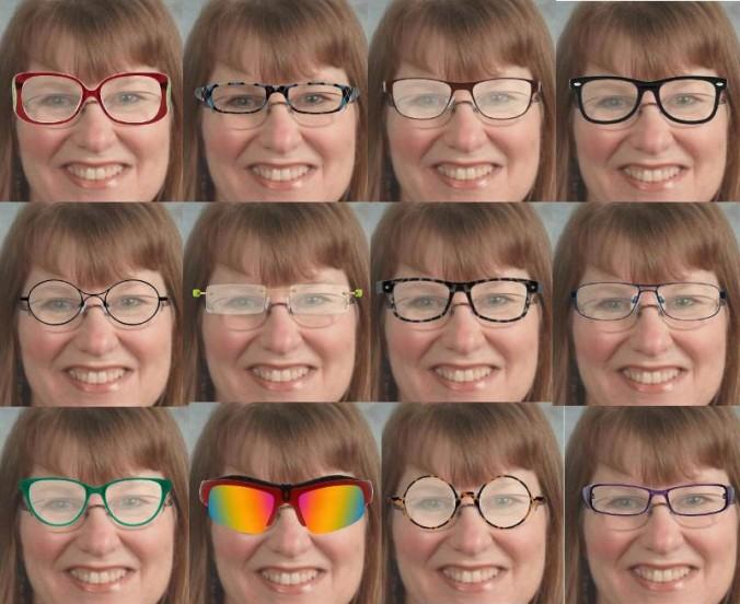 12 photos in glasses