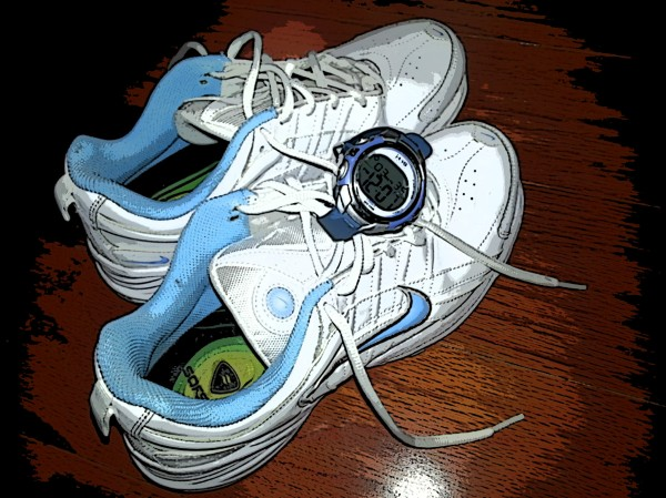 running shoes and watch