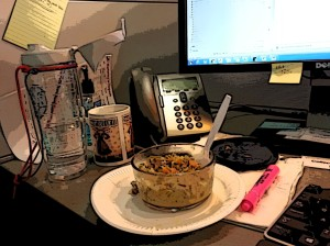 "More evidence of ""Dine at Desk"" November... my lunch of turkey and rice soup (homemade with leftover turkey from LAST Thanksgiving so I can make room for next week's leftovers...)"