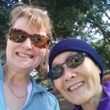 My friend Robena and I took a selfie prior to embarking on the Dash for Diabetes 5K Saturday morning.