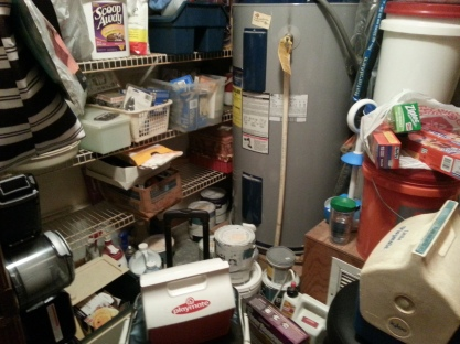 Since everyone was sleeping, I figured I would practice purging on the utility closet Saturday morning. I emptied the utility room -- and that was about all I managed for that room all weekend.