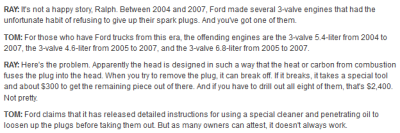Car Talk bloggers discuss the sad story of spark plug changes.