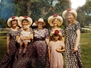 Four generations: My mom, Cyndi with her daughter Sarah, Nana, Trish with her daughter Megan, and me.