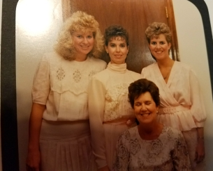 The three sisters and my mom were looking good. Me, Cyndi, my mom (seated), and Trish.