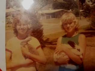 Trish and I with our first live Easter bunnies. She's holding Suzy Q while I hold Rabbi T. (We formerly had steers named Fert and Lizer. My dad was quite the creative namer.)