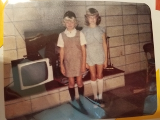 Me, proudly wearing my Brownies uniform, and Trish.
