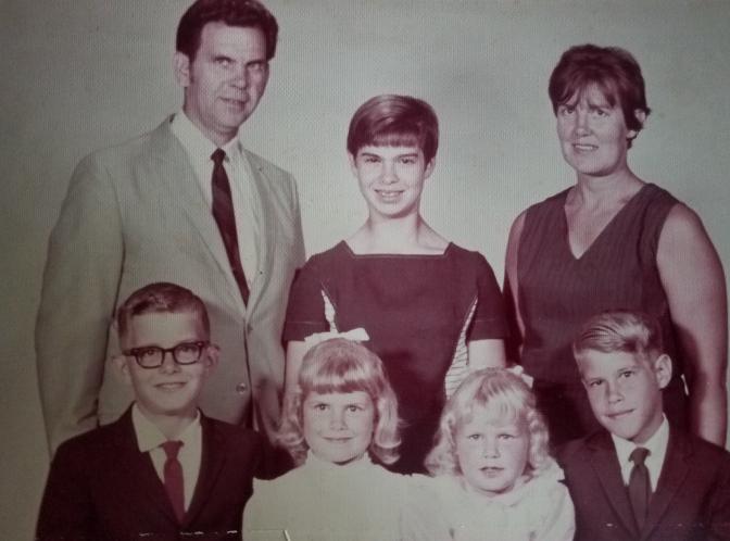 The whole family: Jack, front row at left, Trish, Sara, Scott; John, back row at left, Cyndi, and Barbara